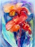 Peinture de paysage d'aquarelle sur coloré de papier de la fleur de lis de canna illustration libre de droits
