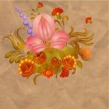 Peinture de Petrikov Ornement floral de vintage sur le vieux papier Image libre de droits