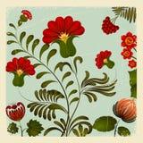 Peinture de Petrikov Ornement floral national ukrainien cru Photographie stock libre de droits