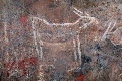 Peinture de roche de débroussailleurs - Afrique du Sud images stock