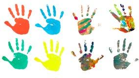 Peinture de trace de métier d'art de couleur d'impression de main Photographie stock