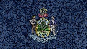 Peinture de tuiles de mosaïque de Maine Flag illustration libre de droits