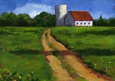 Peinture de voie de ferme en été Photos libres de droits