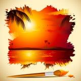 Peinture de vue de coucher du soleil Images libres de droits