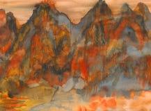 Peinture de Watercolour - montagnes Photographie stock libre de droits