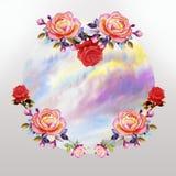 Peinture des fleurs de roses et du nuage de ciel illustration de vecteur
