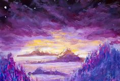 Peinture des montagnes et des îles violettes, végétation, aube, paysage abstrait, nature mystique, courrier-apocalypse, coucher d illustration stock