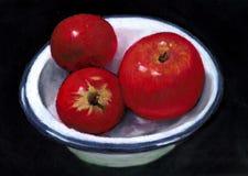 Peinture des pommes rouges lumineuses dans le paraboloïde d'émail Photographie stock libre de droits
