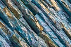Peinture en bois d'or et bleue images stock