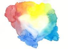 Peinture encadrée d'aquarelle de coeur colorée par arc-en-ciel Image stock