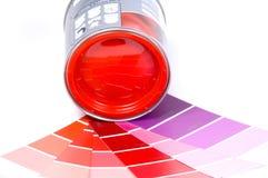Peinture et échantillons rouges Photographie stock libre de droits