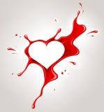 Peinture et coeur de jet rouges Images libres de droits