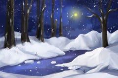 Peinture fantastique de style d'aquarelle : Forêt de neige Photographie stock