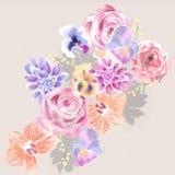Peinture florale d'aquarelle Images libres de droits
