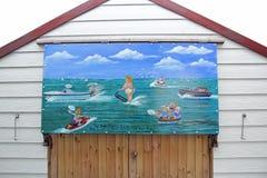 Peinture hardie de hutte de plage de carte postale Photos libres de droits