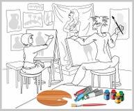 Peinture humoristique, qui dépeint des artistes photos libres de droits