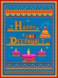 Peinture indienne colorée de camion sur la carte heureuse de Diwali pour le festival de la lumière de l'Inde Photos stock