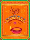 Peinture indienne colorée de camion sur la carte heureuse de Diwali pour le festival de la lumière de l'Inde Photo stock