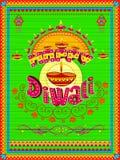 Peinture indienne colorée de camion sur la carte heureuse de Diwali pour le festival de la lumière de l'Inde Photographie stock