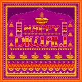 Peinture indienne colorée de camion sur la carte heureuse de Diwali pour le festival de la lumière de l'Inde Photo libre de droits
