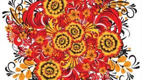 Peinture Khokhloma Russie des fleurs et des baies rouges lumineuses sur le fond blanc Transformation abstraite de fractale illustration stock