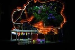 Peinture légère avec une lampe-torche dans l'obscurité à une longue exposition plats et fleurs chimiques images libres de droits