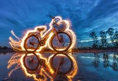 Peinture légère de bicyclette Photographie stock