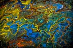 Peinture liquide abstraite avec des cellules, vertes Photos libres de droits