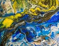 Peinture liquide abstraite avec des cellules, vertes Image libre de droits
