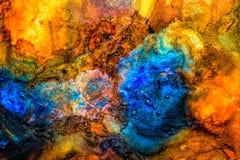 Peinture liquide abstraite avec la texture, bleue Image libre de droits