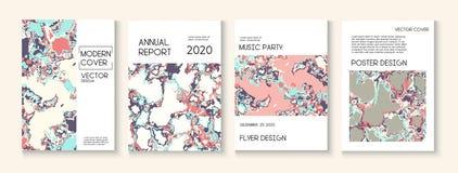 Peinture liquide, Clay Texture Vector Cover Layout Magazine à la mode, calibre d'affiche de musique Affiche moderne d'écologie de illustration de vecteur