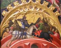 Peinture médiévale d'un tournoi entre les chevaliers photo libre de droits