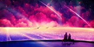 Peinture multicolore unique artistique de Digital de résumé de deux amants voyageant par une autre dimension illustration de vecteur