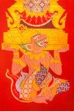 Peinture murale antique de trône de levage de Hanuman Photographie stock