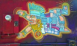 Peinture murale aztèque d'un dieu Photos stock