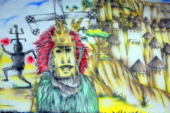 Peinture murale aztèque d'un dieu Image stock