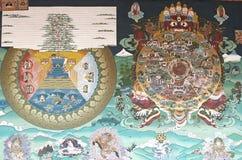 Peinture murale chez le Trashi Chhoe Dzong, Thimphou, Bhutan images stock