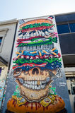 Peinture murale d'hamburger de McDeath en Smith Street, Collingwood Images libres de droits