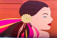 Peinture murale d'une femme Images libres de droits