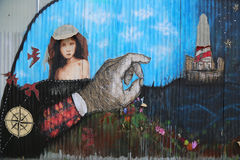 Peinture murale dans la section rouge de crochet de Brooklyn Images stock