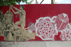 Peinture murale dans la section rouge de crochet de Brooklyn Image stock