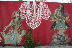 Peinture murale dans la section rouge de crochet de Brooklyn Photo stock