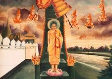 Peinture murale de biographie de Bouddha Photo libre de droits