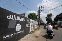 Peinture murale de drapeau d'ISIS en Indonésie Photographie stock