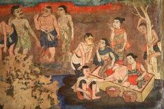 Peinture murale de mur de temple image stock