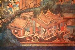 Peinture murale de mur de temple Photos stock