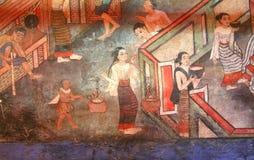 Peinture murale de mur de temple Image libre de droits