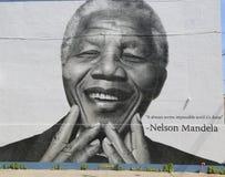 Peinture murale de Nelson Mandela dans la section de Williamsburg à Brooklyn Photo libre de droits