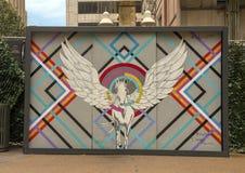 Peinture murale de Pegasus d'imagination à la plaza de Pegasus à Dallas, le Texas photographie stock libre de droits