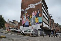 Peinture murale de présentation horizontale sur microfilm à Bruxelles, Belgique Photos stock